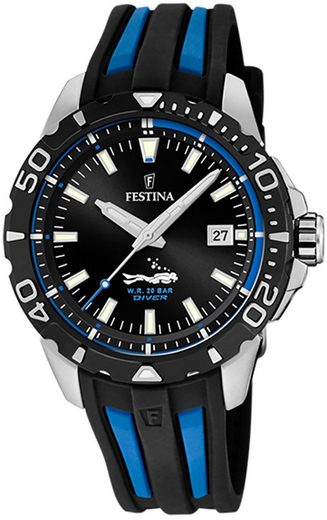 Festina Quarzuhr »UF20462/4 Festina Herren Uhr F20462/4 PU«, (Analoguhr), Herren Armbanduhr rund, PURarmband schwarz, blau
