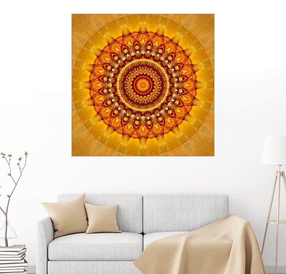 Posterlounge Wandbild - Christine Bässler »Mandala strahlendes Gelb« | Dekoration > Bilder und Rahmen > Bilder | Holz | Posterlounge