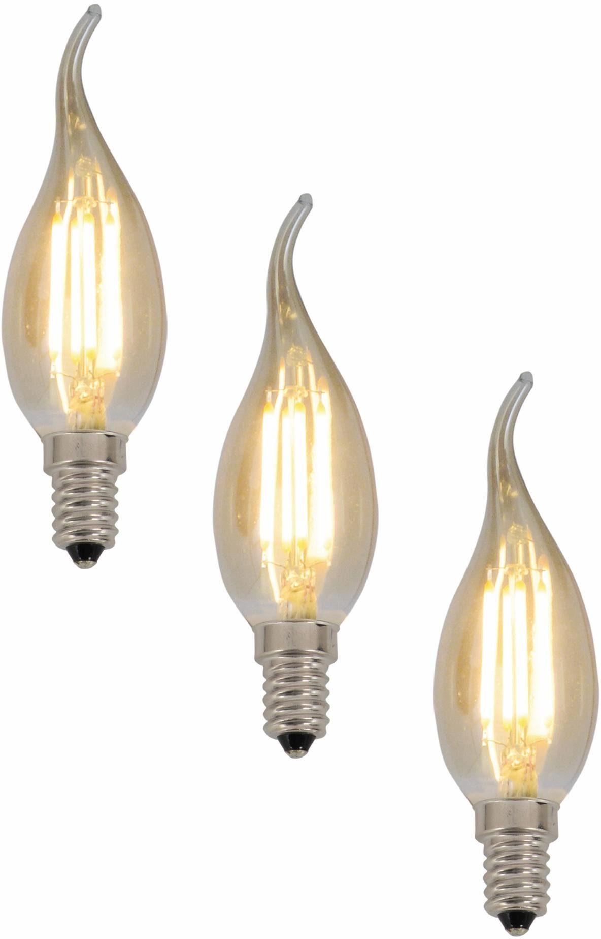 Näve LED Leuchtmittel, 3er Set, »E14 Filament Kerze«