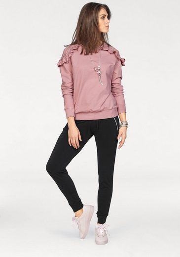Laura Scott Sweatshirt, mit Spitze und Volants an der Schulter
