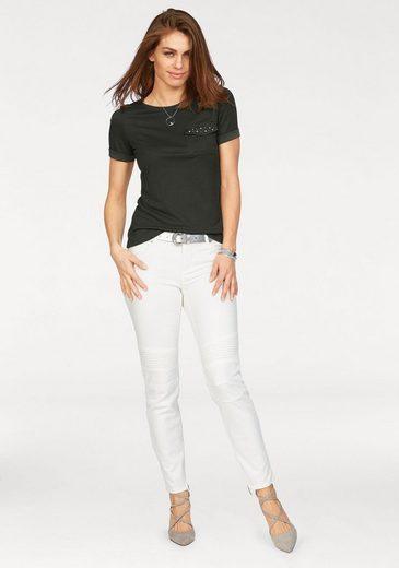 Laura Scott T-Shirt, aufgesetzte Tasche mit Glitzernieten