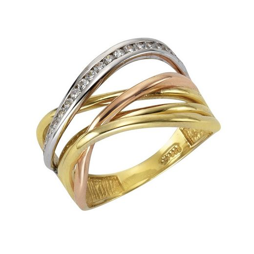 Fascination by Ellen K. Fingerring »333/- Gelbgold 3-farbig Zirkonia«, Ring