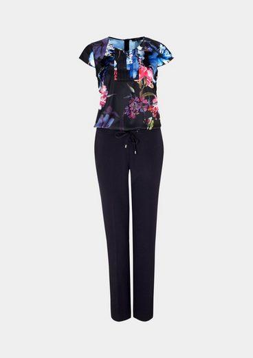 COMMA Extravaganter Business-Jumpsuit mit feinem Floralmuster