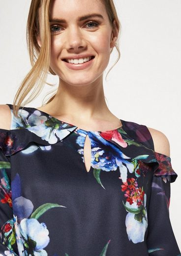 COMMA Edles Satinkleid mit farbenprächtigen Floralmuster