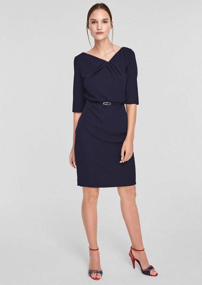 s oliver black label schmales cr pe kleid mit g rtel online kaufen otto. Black Bedroom Furniture Sets. Home Design Ideas