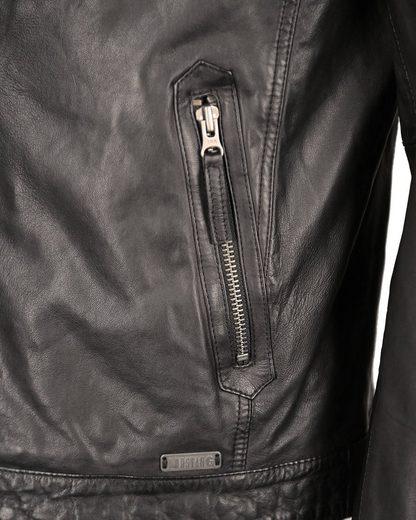 Mustang Lederjacke mit Reißverschluss und Stehkragen Max