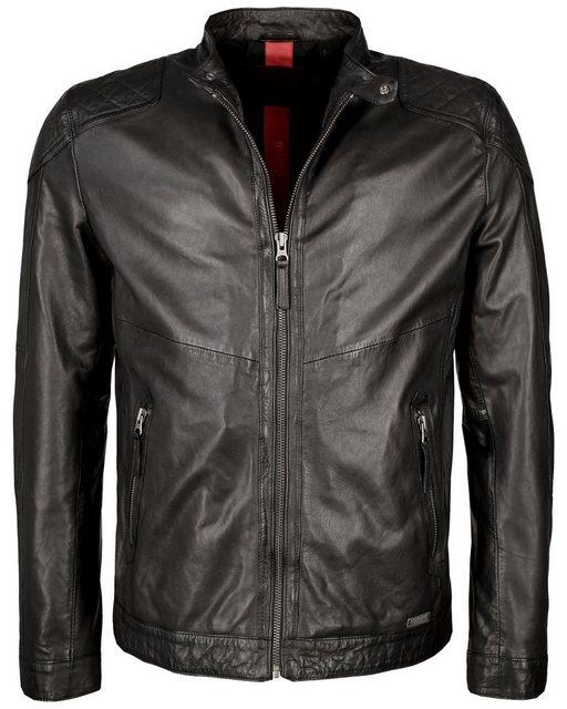 Mustang Lederjacke mit Reißverschluss und Stehkragen »Max« | Bekleidung > Jacken > Lederjacken | Schwarz | Polyester | MUSTANG