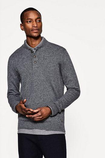 ESPRIT Henley-Sweater aus reiner Baumwolle