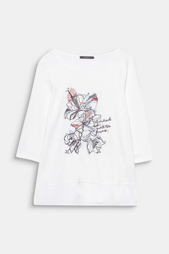 Esprit Collection Flowing Material-mix-shirt With Embroidery