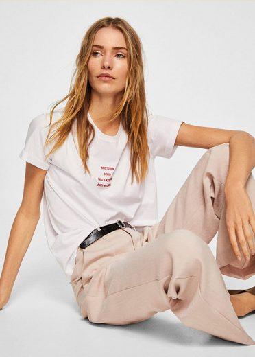 MANGO T-Shirt aus Bio-Baumwolle mit Schriftzug