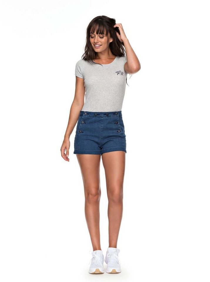 Roxy High Waist Jeansshorts »Nautical Anchor« | Bekleidung > Jeans > High Waist Jeans | Blau | Denim | Roxy
