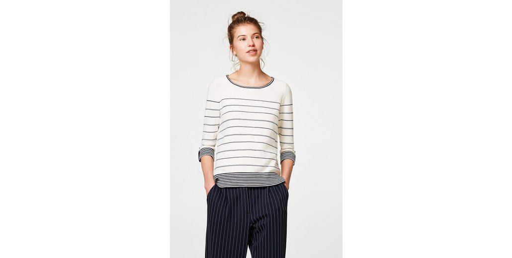 ESPRIT Pullover mit Ringeln, 100% Baumwolle