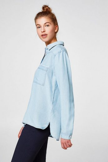 EDC BY ESPRIT Gestreifte Bluse in Denim-Optik