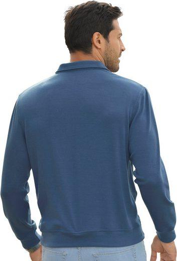 Catamaran Sweatshirt mit Paspeln aus Veloursleder-Imitat