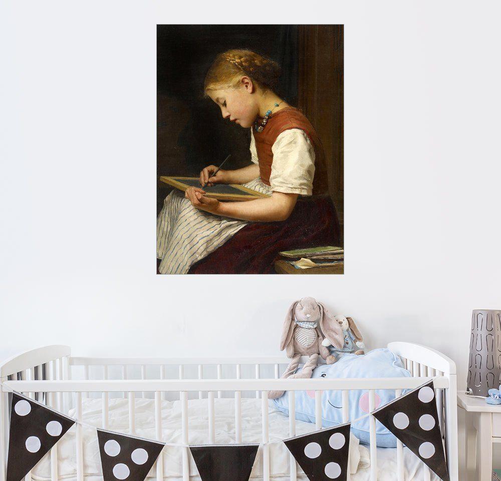Posterlounge Wandbild - Albert Anker »Schulmädchen bei den Hausaufgaben«