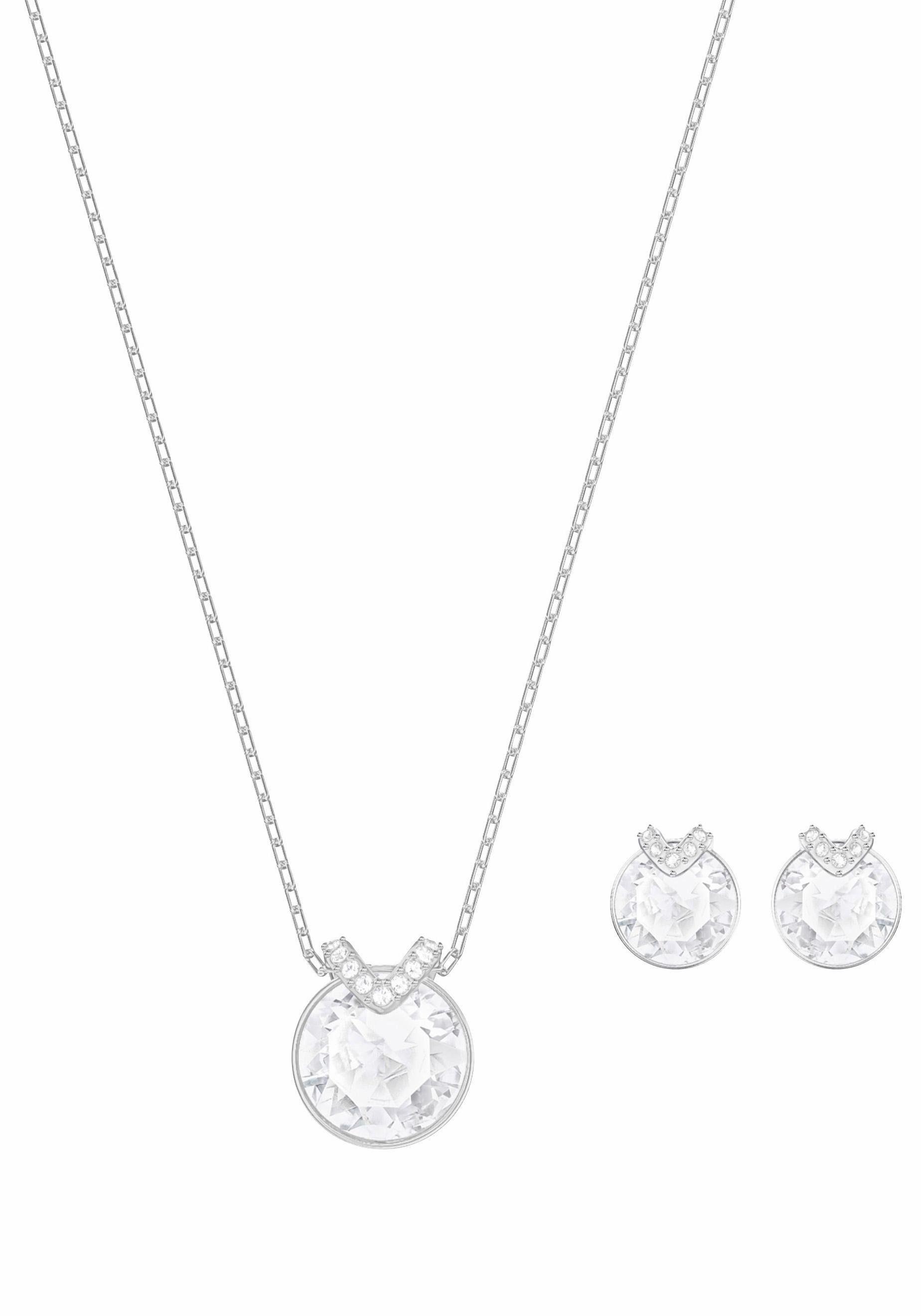 Swarovski Ohrring und Ketten Set »BELLA V SET, WEISS, RHODINIERT, 5299319« (Set, 3 tlg) mit Swarovski® Kristallen
