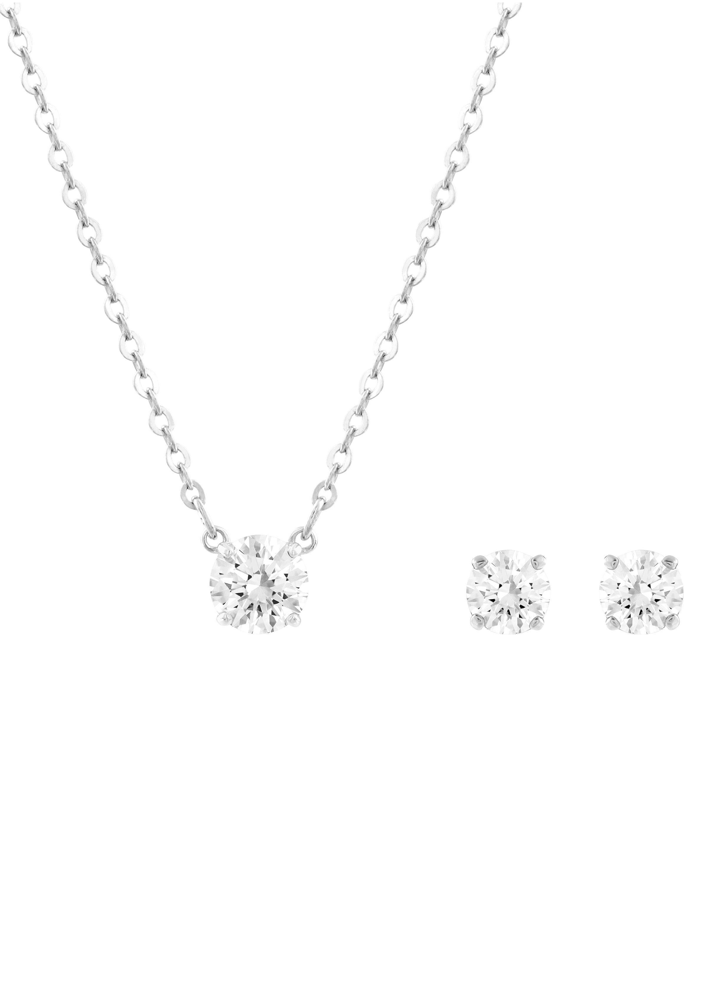 Swarovski Ohrring und Ketten Set »ATTRACT ROUND SET, WEISS, RHODINIERT, 5113468« (Set, 3 tlg) mit Swarovski® Kristallen