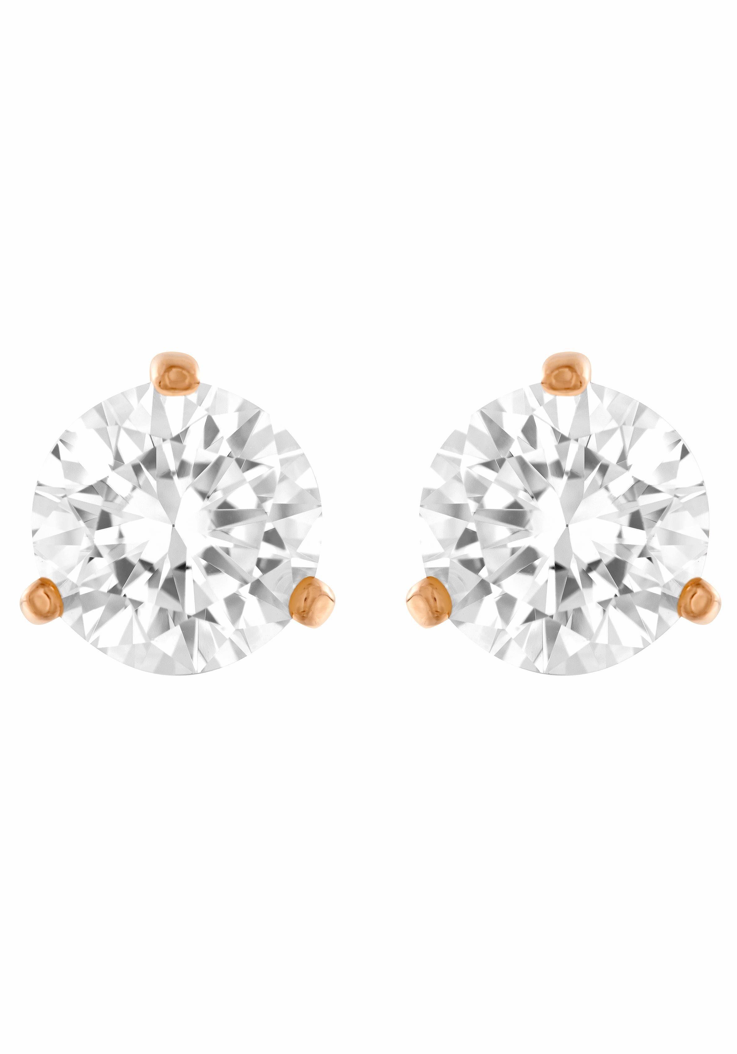 Swarovski Paar Ohrstecker »SOLITAIRE, WEISS, ROSÈ VERGOLDUNG, 5112156« mit Swarovski® Kristallen