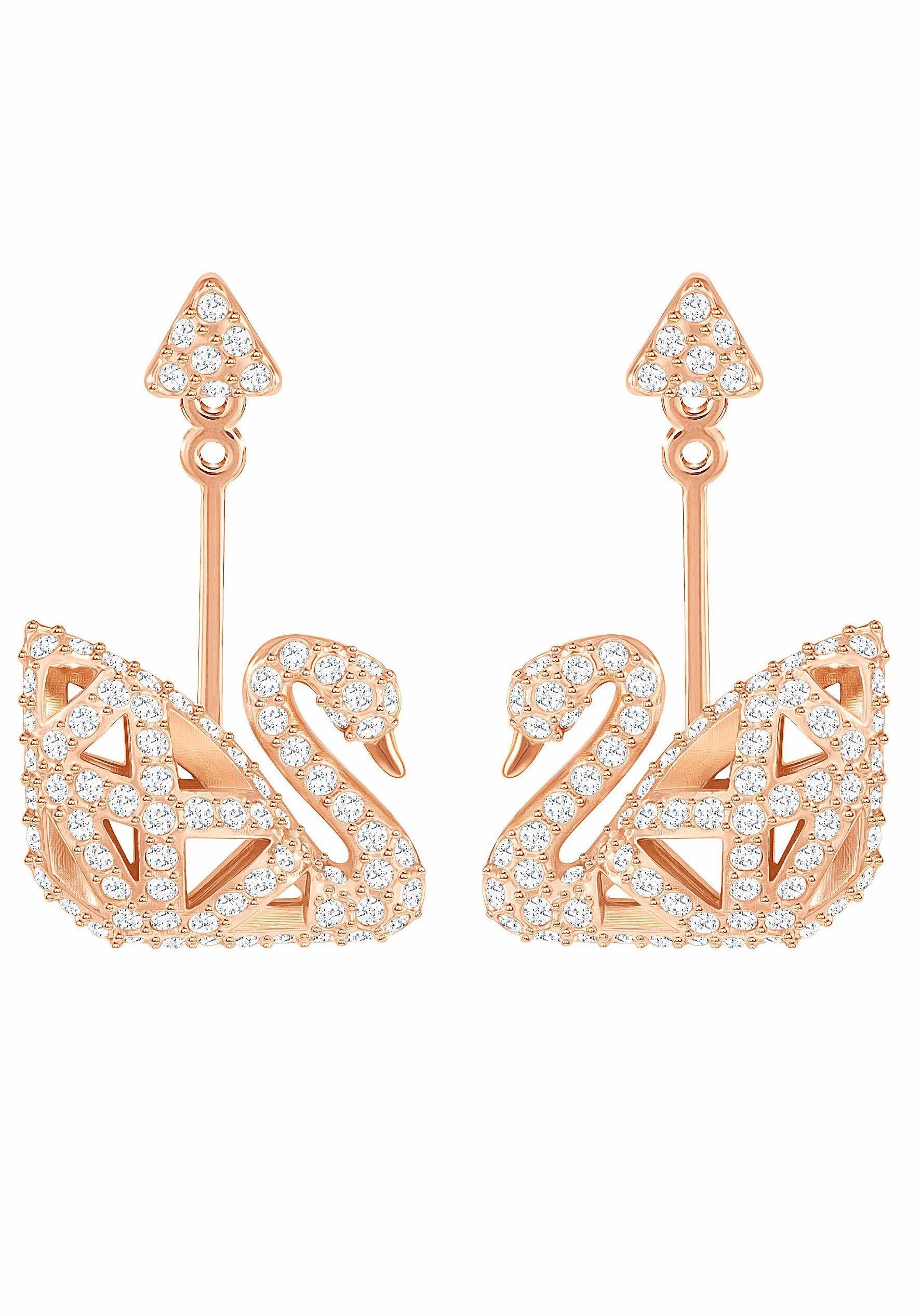 Swarovski Paar Ohrstecker »FACET SWAN, WEISS, ROSÈ VERGOLDET, 5358058« mit Swarovski® Kristallen und abnehmbaren Einhängern