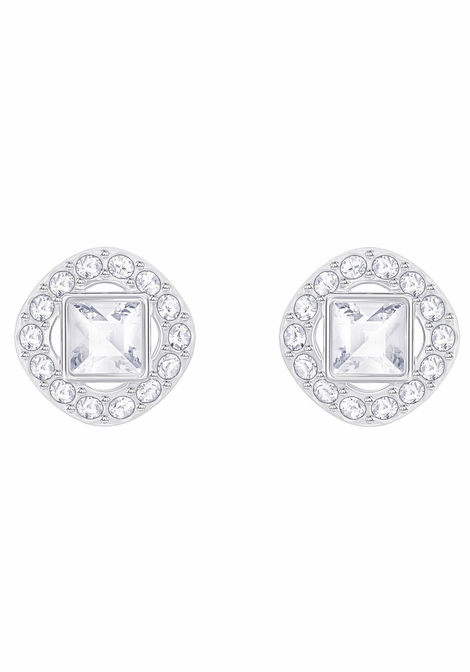 Swarovski Paar Ohrstecker »ANGELIC SQUARE, WEISS, RHODINIERT, 5368146«, mit Swarovski® Kristallen