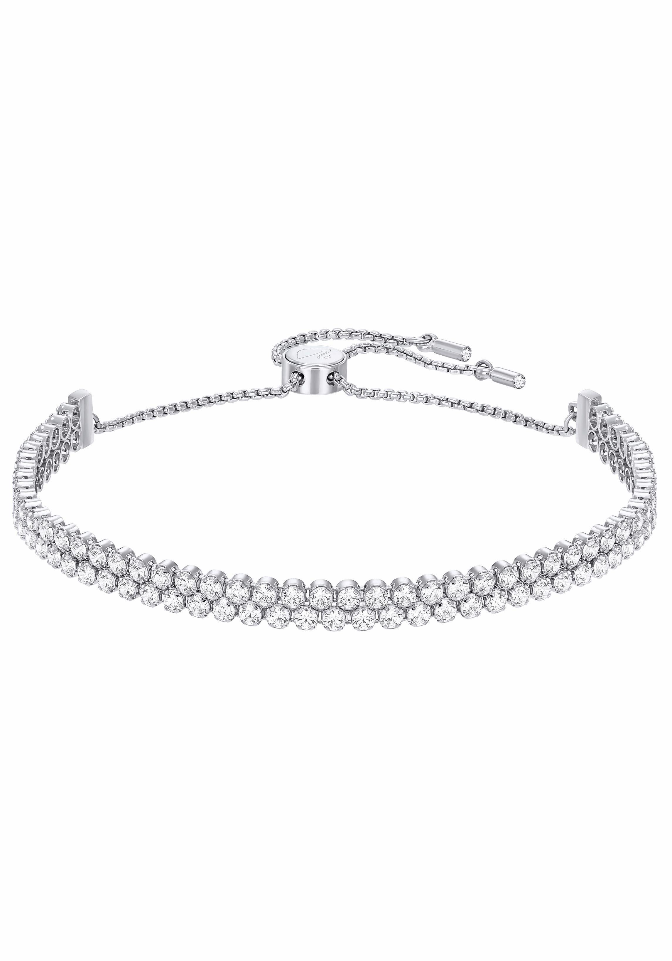 Swarovski Armband »SUBTLE DOUBLE, WEISS, RHODINIERT, 5221397« mit Swarovski® Kristallen