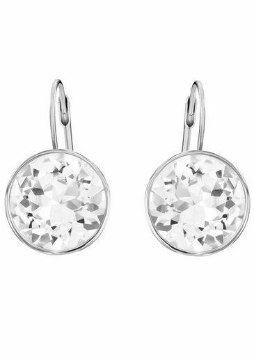 Swarovski Paar Ohrhänger »BELLA, WEISS, RHODINIERT, 883551«, mit Swarovski® Kristallen