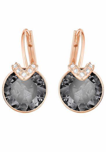 Swarovski Paar Ohrhänger »BELLA V, GRAU, ROSÈ VERGOLDUNG, 5299317«, mit Swarovski® Kristallen
