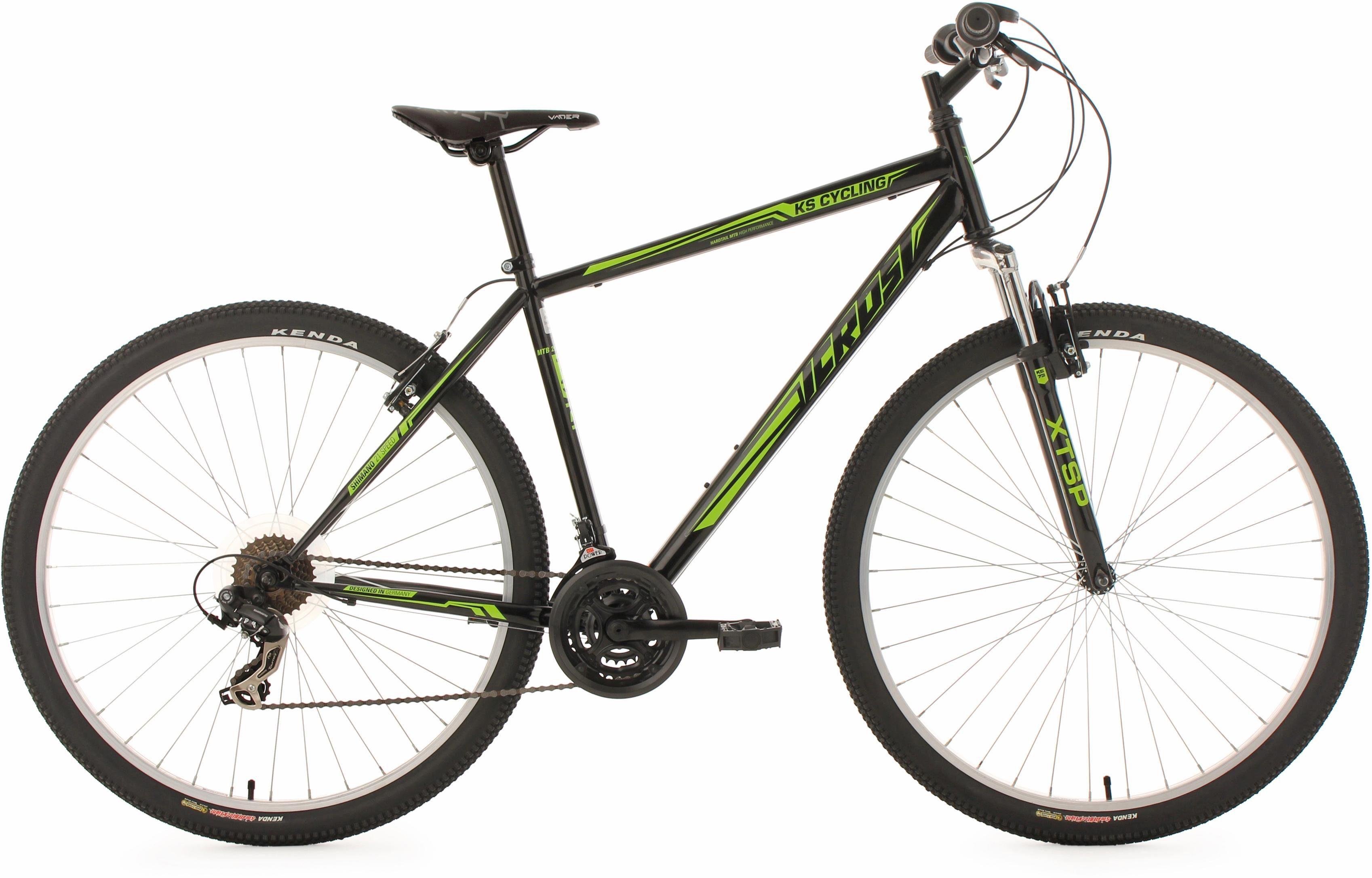 KS Cycling Hardtail Mountainbike, 29 Zoll, schwarz-grün, 21 Gang-Kettenschaltung, »Icros«