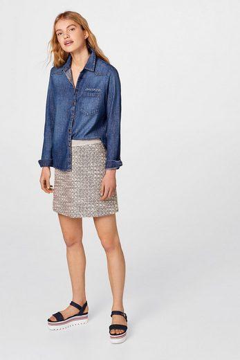 ESPRIT Antaillierte Denim-Bluse, 100% Baumwolle