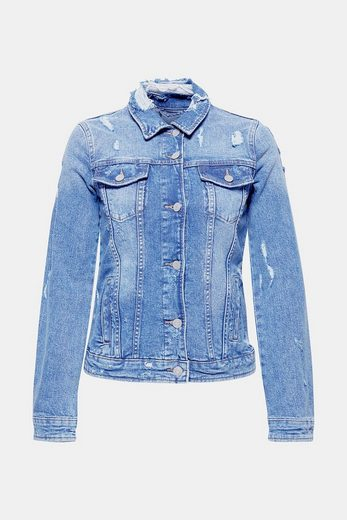 ESPRIT Destroyed Jeans-Jacke mit Stretch