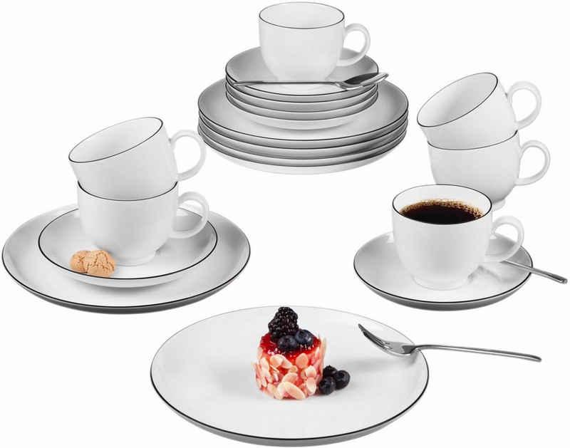 Seltmann Weiden Kaffeeservice »Lido Black Line« (18-tlg), Porzellan, Mikrowellengeeignet