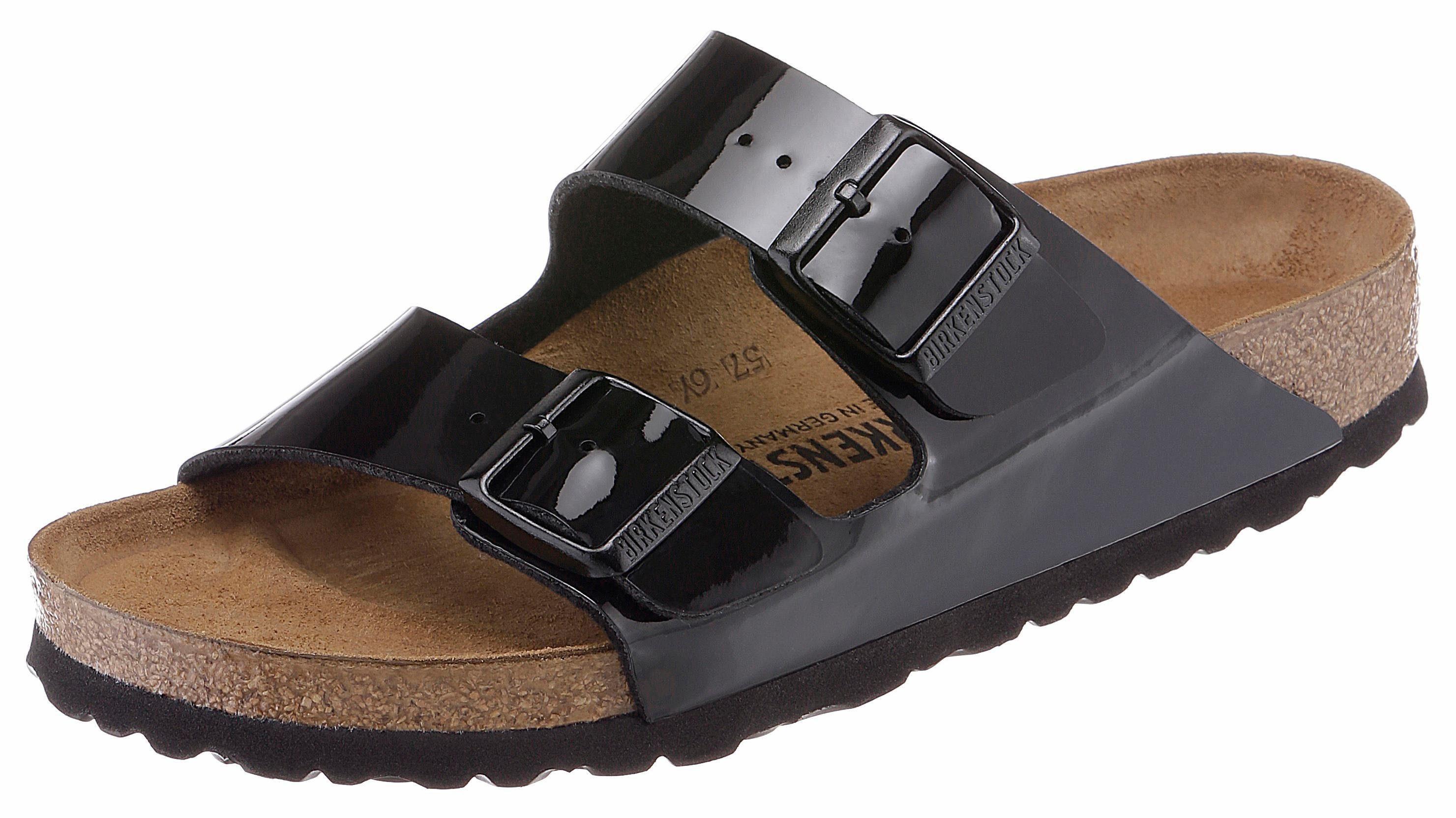 Birkenstock Arizona Pantolette, in Schuhweite schmal und glänzendem Look! online kaufen  schwarz