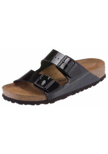 Damen Birkenstock Arizona Pantolette in Schuhweite schmal und glänzendem Look! schwarz | 04052605930233