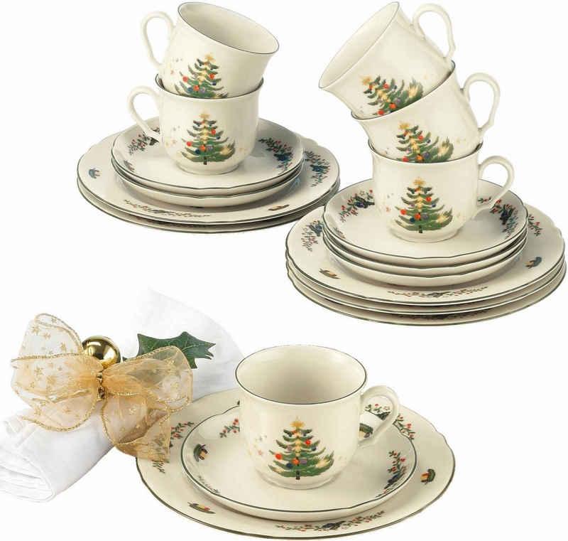 Seltmann Weiden Kaffeeservice »Marieluise Weihnachten« (18-tlg), Porzellan, Mikrowellengeeignet
