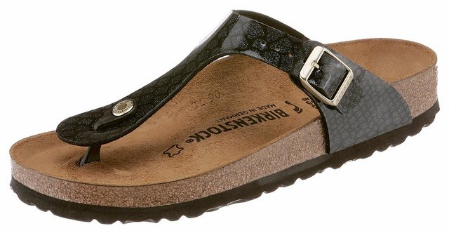 Damen Birkenstock Gizeh Zehentrenner in schmaler Schuhweite mit Reptilprägung schwarz | 04054056992723