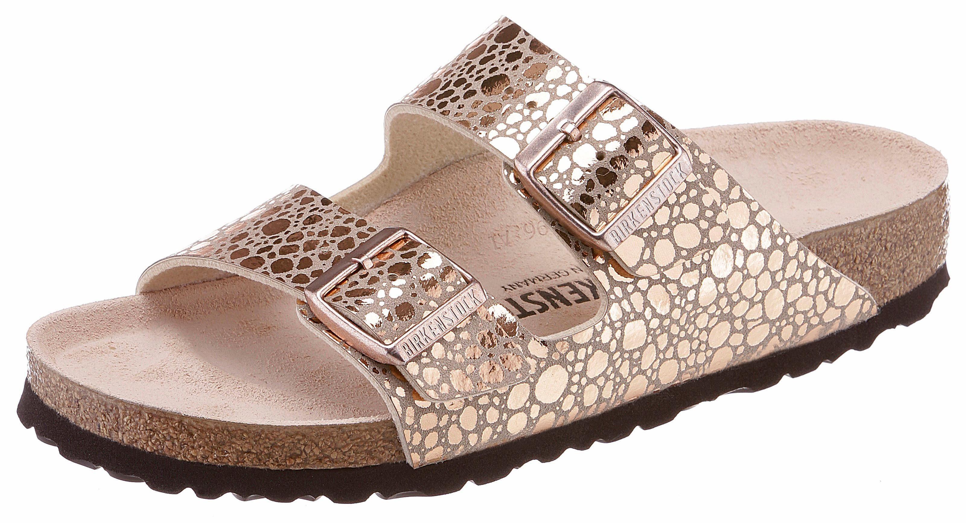 Birkenstock ARIZONA BS Metallic Pantolette, in glänzender Metallic-Optik und schmaler Schuhweite online kaufen  kupfer-taupe