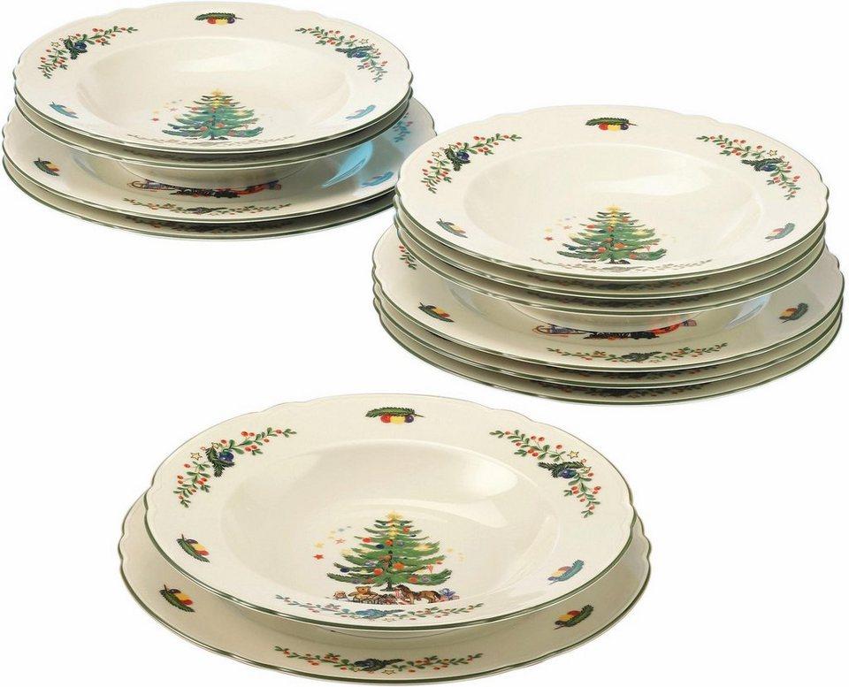 Porzellan Weihnachten.Seltmann Weiden Tafelservice Marieluise Weihnachten 12 Tlg Porzellan Mikrowellengeeignet Online Kaufen Otto