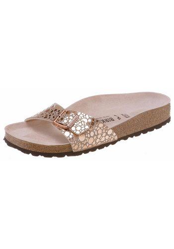 Damen Birkenstock Madrid Pantolette in schmaler Schuhweite, Metallic-Look! rosa   04054056626284