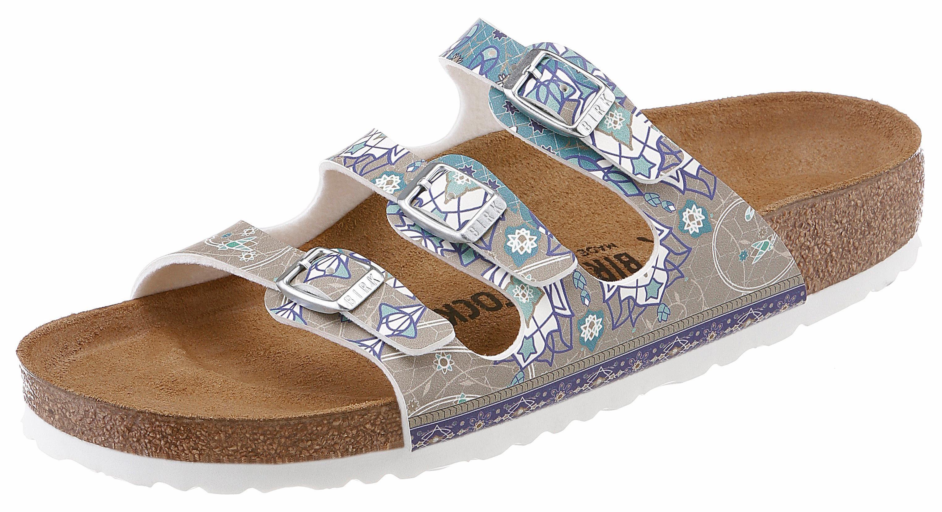 Birkenstock FLORIDA Pantolette, in schmaler Schuhweite, mit ergonomisch geformtem Fußbett online kaufen  taupe-bunt