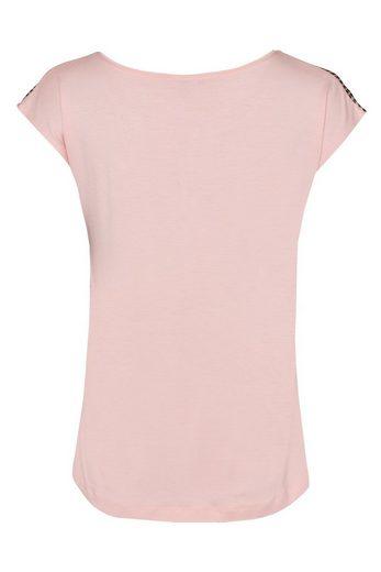MORE&MORE Shirt, rosé/schwarz getupft
