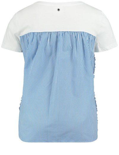 Taifun T-Shirt Kurzarm Rundhals Blusenshirt mit Rüschen und Badges
