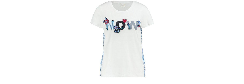 Taifun T-Shirt Kurzarm Rundhals Blusenshirt mit Rüschen und Badges Rabatt Klassisch Austritt Aus Deutschland b2HL03ky