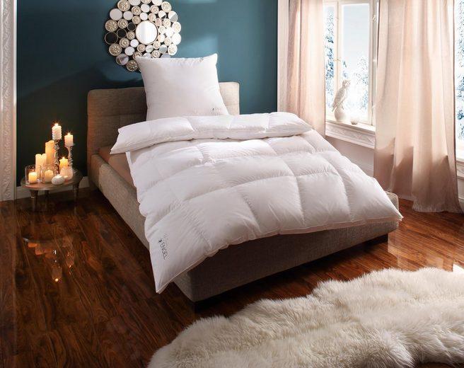 Daunenbettdecke, »Mein Engel«, Schlafstil, extrawarm, Füllung: 100% Gänsedaunen, Bezug: 100% Baumwolle, (1-tlg), Mit Körperformsteppung & 3 cm Außenstege