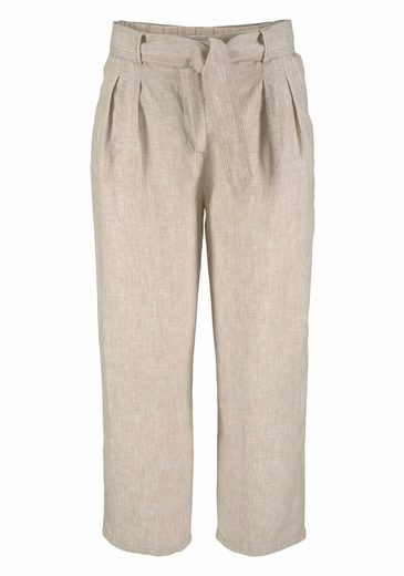 Clarina 7/8-hose, Linen Trousers With Pleats And Binding Tape