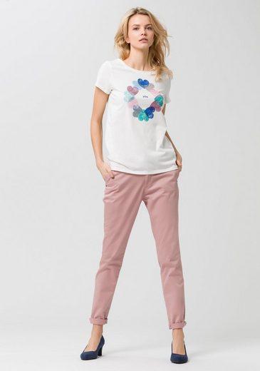 ESPRIT T-Shirt, mit Herzprint und Metallic-Effekt