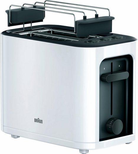 Braun Toaster HT 3010 WH, 2 kurze Schlitze, für 2 Scheiben, 1000 W