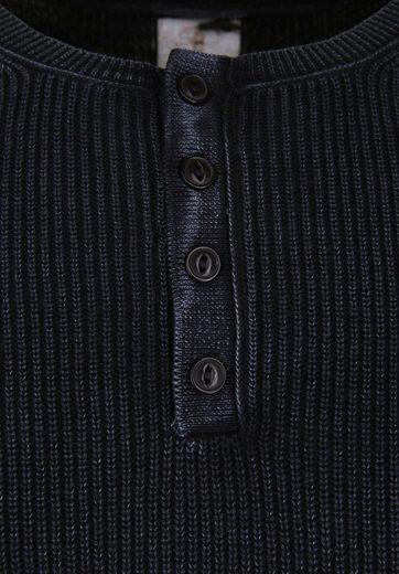 Dstrezzed Strickpullover GRANDDAD ACID STRIPE, Logo-Fähnchen