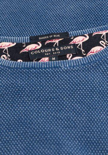 colours & sons Strickpullover mit feiner Struktur, Logo