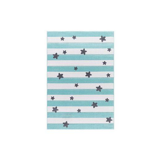 Happy Rugs Kinderteppich, STARS and STRIPES mint/weiß