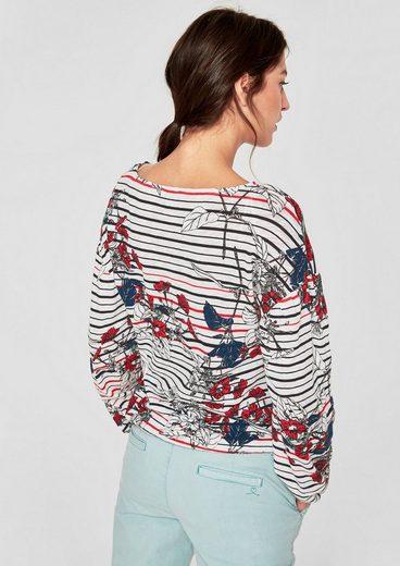 s.Oliver RED LABEL Feinstrick-Shirt mit Elastik-Saum